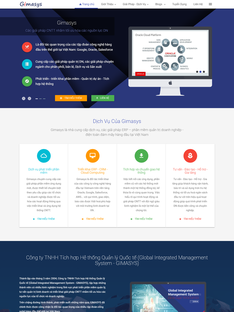 Landing Page Dịch vụ phần mềm Gimasys
