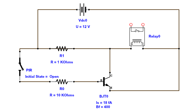 Andy browns blog pir motion sensor circuit for kitchen lighting the pir is indicated by the switch to the left and the output is connected to the relay asfbconference2016 Images