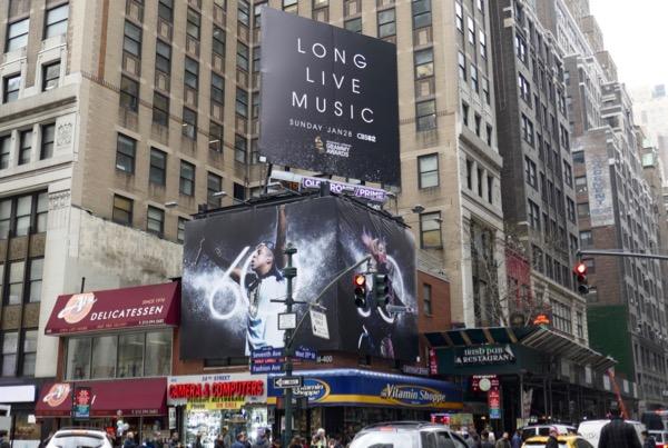 60th Grammy Awards billboards NYC