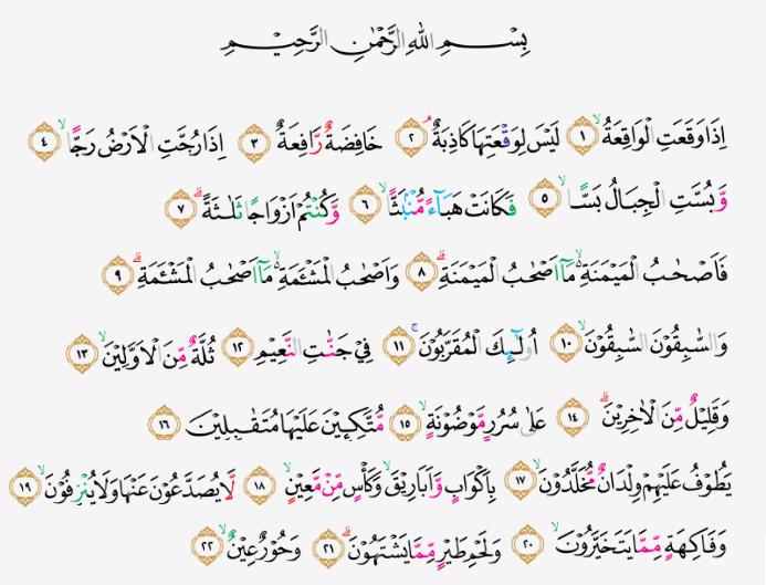 Tajwid Surat Al Waqiah Ayat 1 22 Masrozak Dot Com