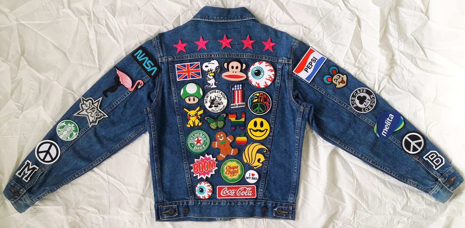 Patched Denim Hand Reworked Vintage Jean Jacket With Patches Women