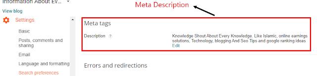 blogspot meta desciption