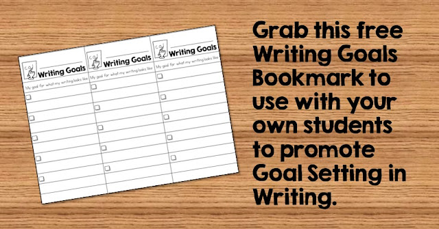 Help your students set goals during writing.  Work together to establish goals based on their own writing and then use this bookmark to help students keep track of their goals. Grab a free writing goal setting bookmark to use with your students.