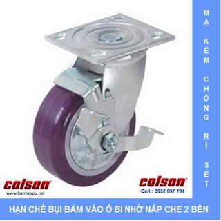Bánh xe nhựa PU bánh xe công nghiệp chịu tải (243~370kg) www.banhxepu.net