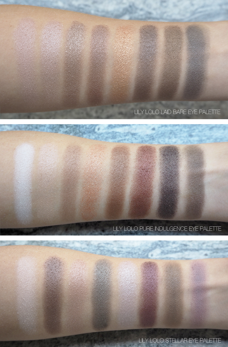 Lily Lolo Eye Palette Swatches Laid Bare, Pure Indulgence, Stellar