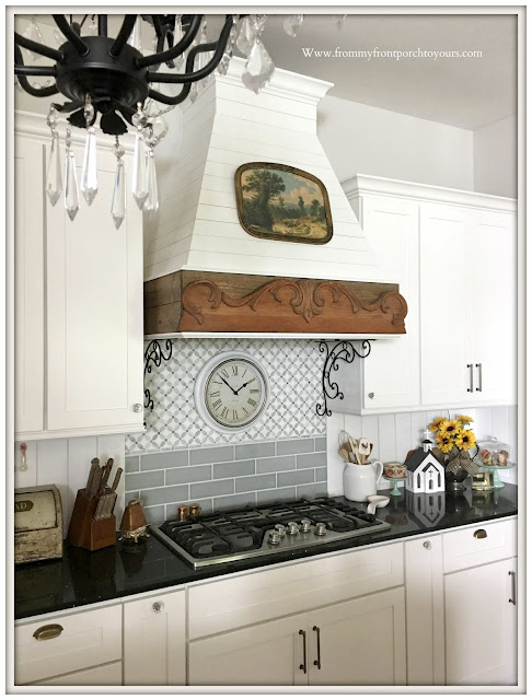 diy farmhouse kitchen updates-range hood-tongue and groove backsplash-from my front porch to yours
