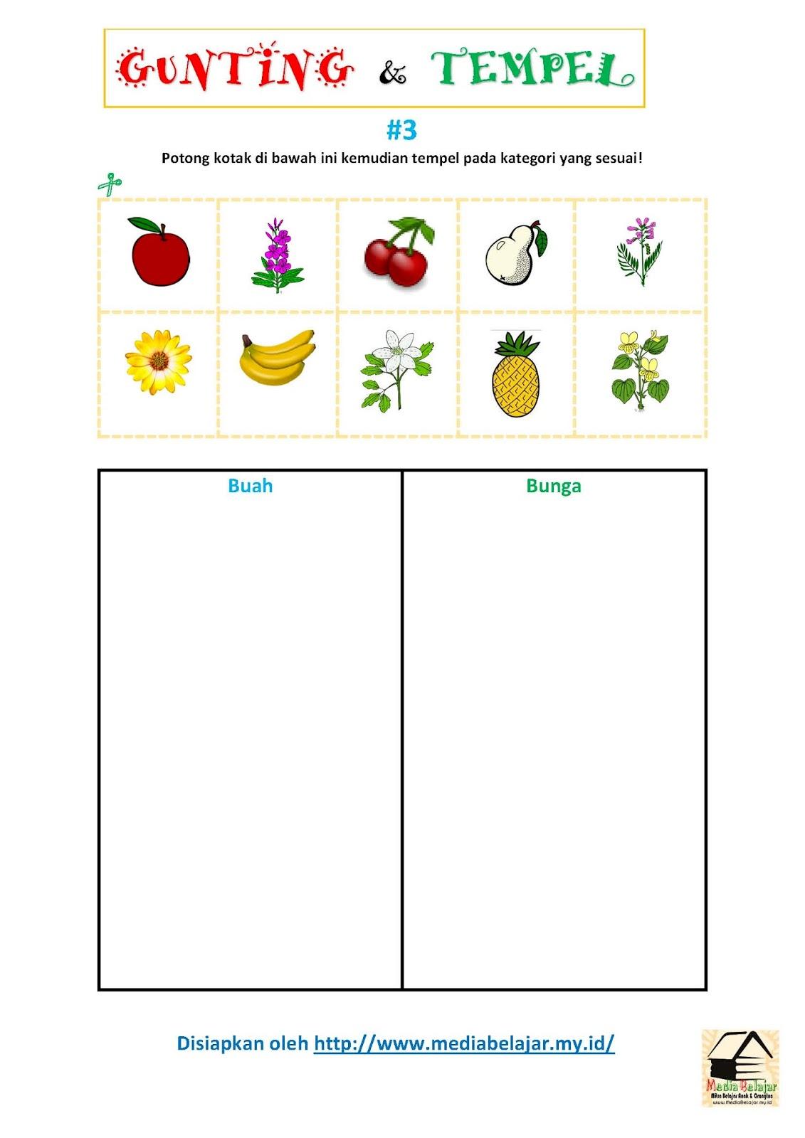 Gunting dan Tempelkan Gambar Sesuai Kategori Buah Vs Bunga