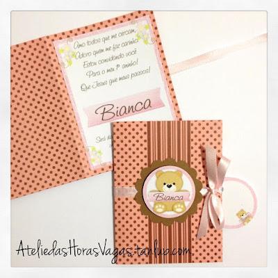 convite artesanal infantil personalizado aniversário 1 aninho ursinho ursinha poá bolinhas marrom rosa antigo chá menina festa