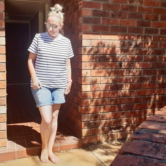 Zozo tee, Target shorts | Almost Posh