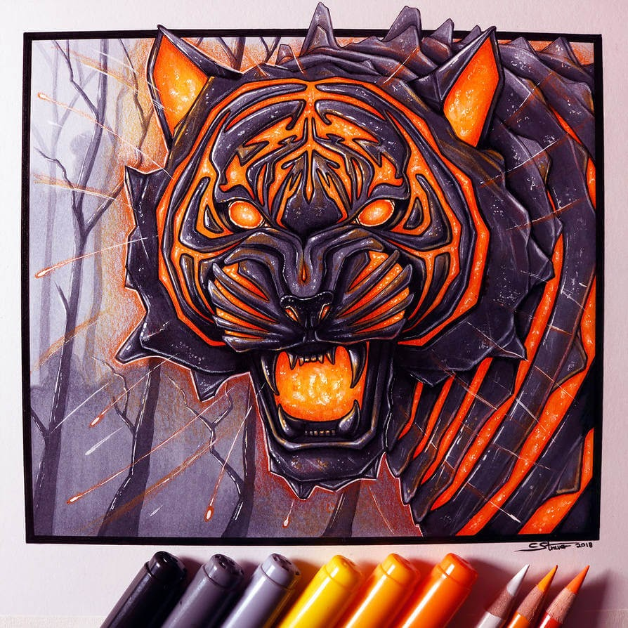 09-Lava-Tiger-C-Straver-Fantasy-Movie-Characters-Drawings-www-designstack-co