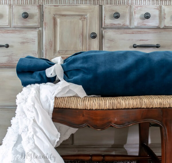 luxurious DIY velvet bolster pillow