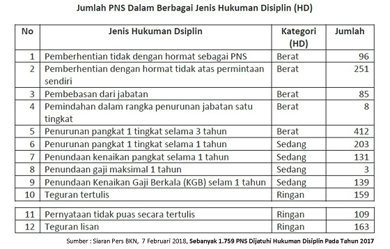 BKN: Sebanyak 1.759 PNS Dijatuhi Hukuman Disiplin Pada Tahun 2017