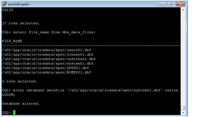 alter datafile resize