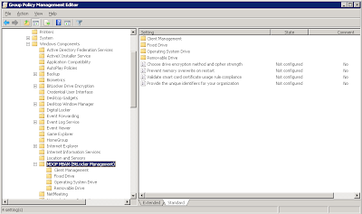 MBAM client Group Policy settings