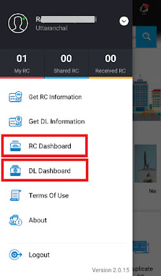 mparivahan app registration for dl and rc