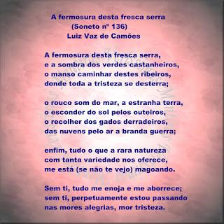Ilustração mostrando o soneto do poeta Luiz Vaz de Camões: A fermosura desta fresca serra.