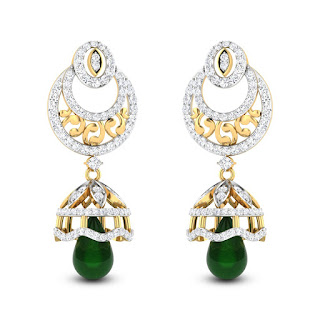 Emerald Drop Jhumkas - Zaamor Diamonds