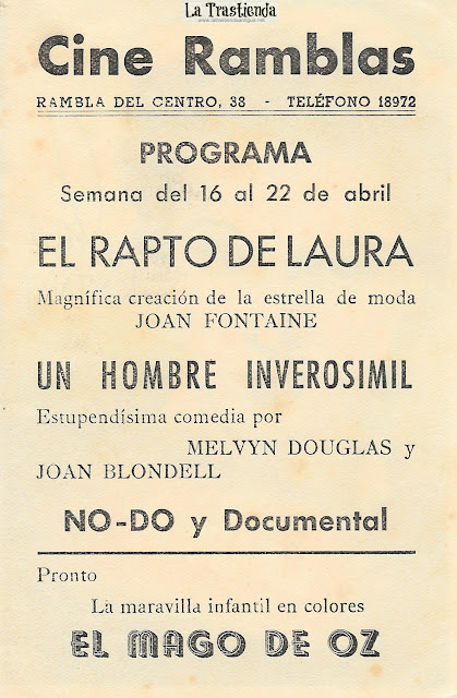 El Rapto de Laura - Programa de Cine - Joan Fontaine - Allan Lane