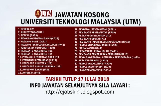 Jawatan Kosong Universiti Teknologi Malaysia Utm 17 Julai 2018