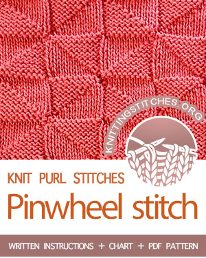 REVERSIBLE KNITTING -- #howtoknit the Pinwheel knit purl stitch. FREE written instructions, Chart, PDF knitting pattern.  #knittingstitches #knitpurl