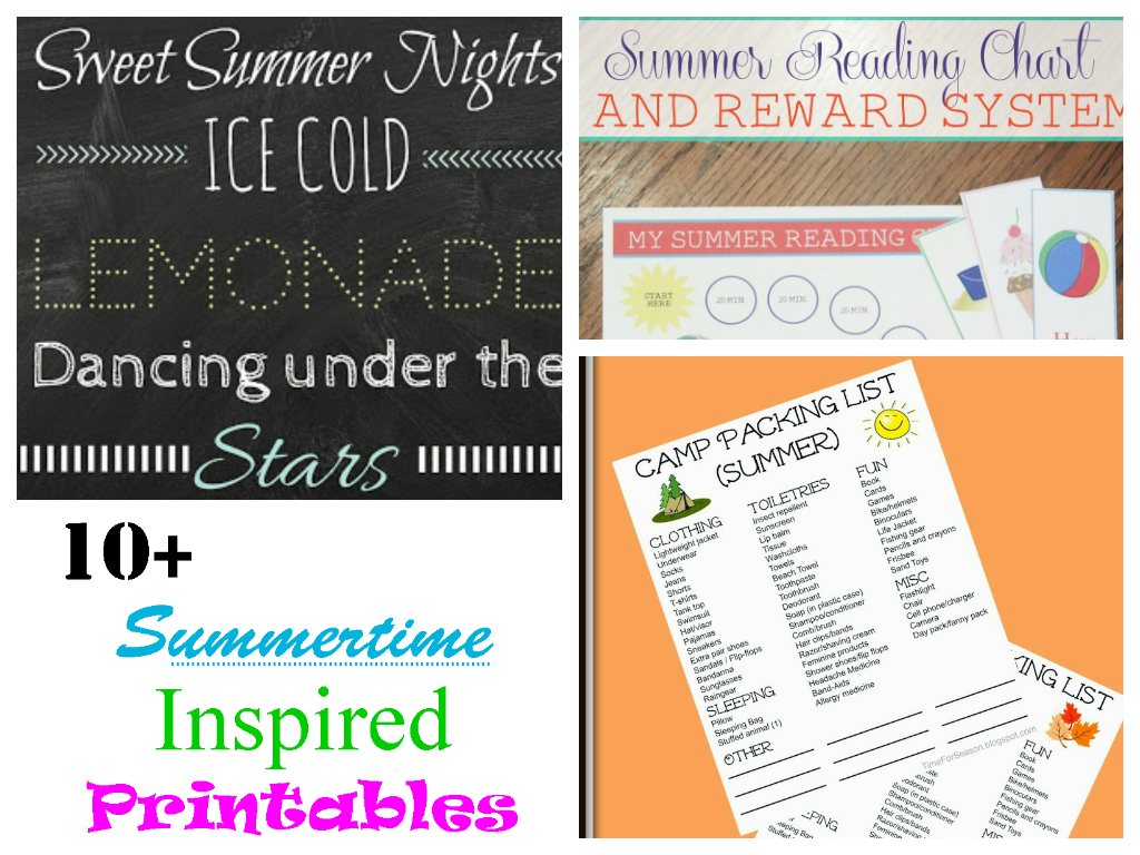 10+ summertime inspired printables