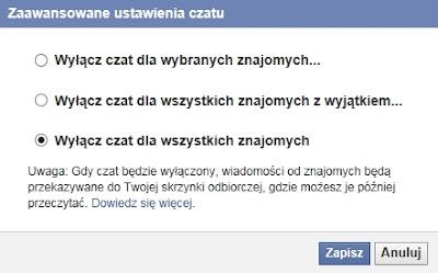 Całkowite wyłączenie chatu na Facebooku