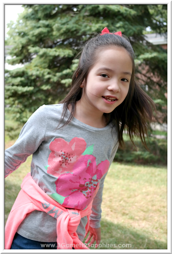 OshKosh back-to-school glitter graphic tees for girls #OshKoshFirstDay | www.3Garnets2Sapphires.com