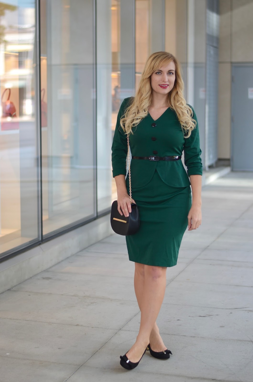 green twenties style office dress