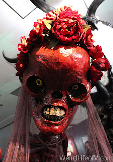 Closeup of the skull of the red skeleton bride