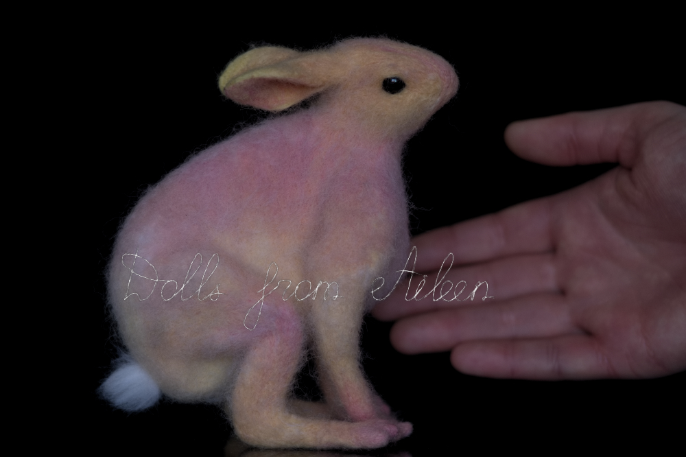 ooak needle felted woolen hare with human hand