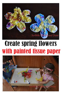 create spring flowers with painted tissue paper craft for kids