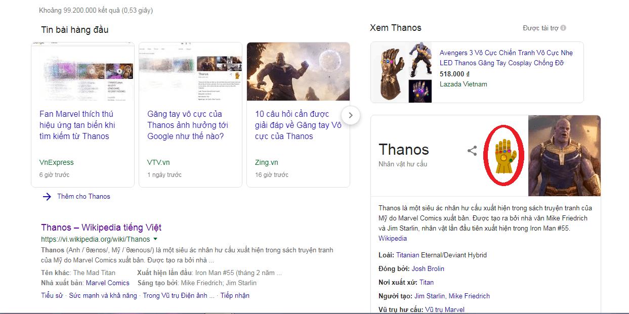 Găng tay thanos google