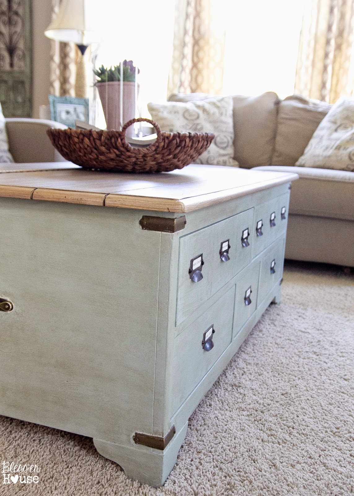 Faux Planked Card Catalog Coffee Table
