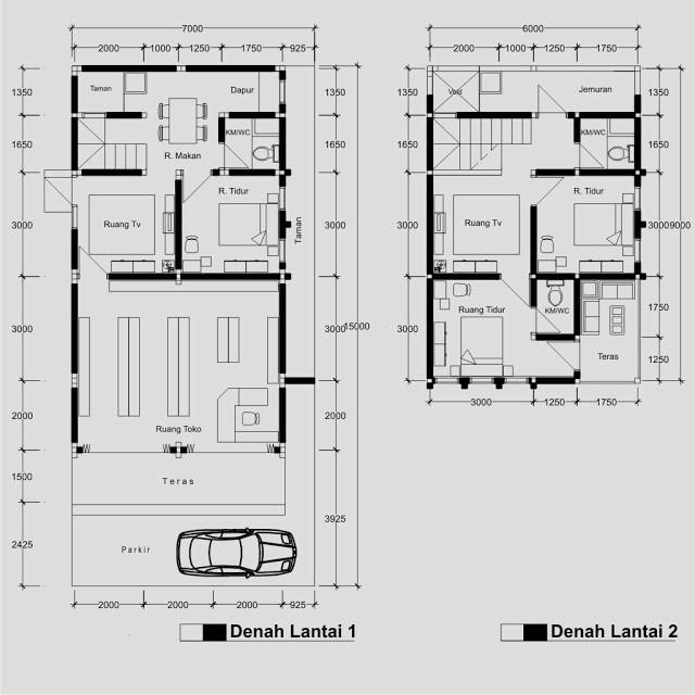 gambar denah rumah dan toko 2