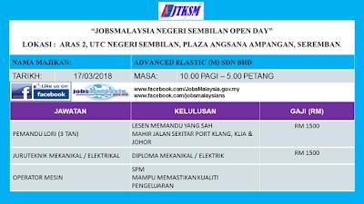 Temuduga Terbuka JobsMalaysia Negeri Sembilan Open Day 17 Mac 2018