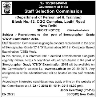 SSC Stenographer Online Application 2018