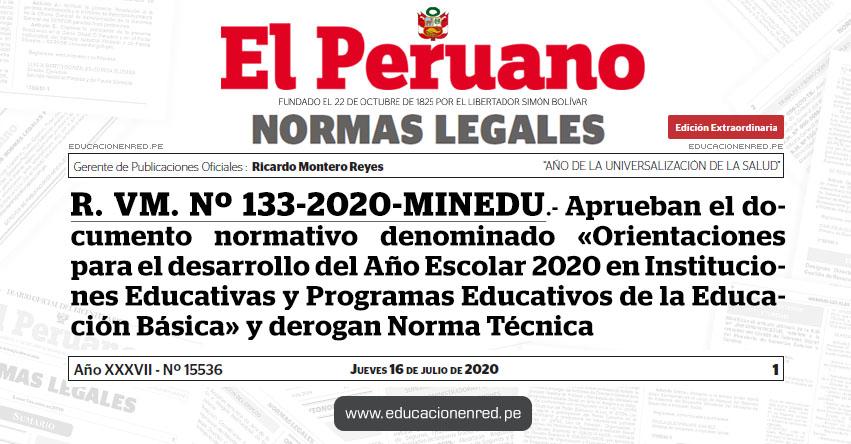 R. VM. Nº 133-2020-MINEDU.- Aprueban el documento normativo denominado «Orientaciones para el desarrollo del Año Escolar 2020 en Instituciones Educativas y Programas Educativos de la Educación Básica» y derogan Norma Técnica
