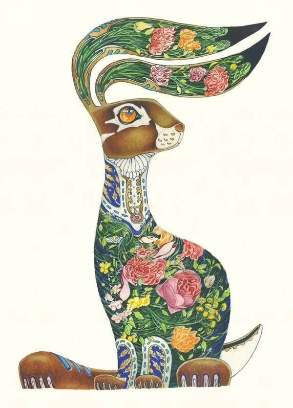 01-Hare-with-Flowers-Daniel-Mackie-Flora-and-Fauna-Watercolour-illustrations-www-designstack-co