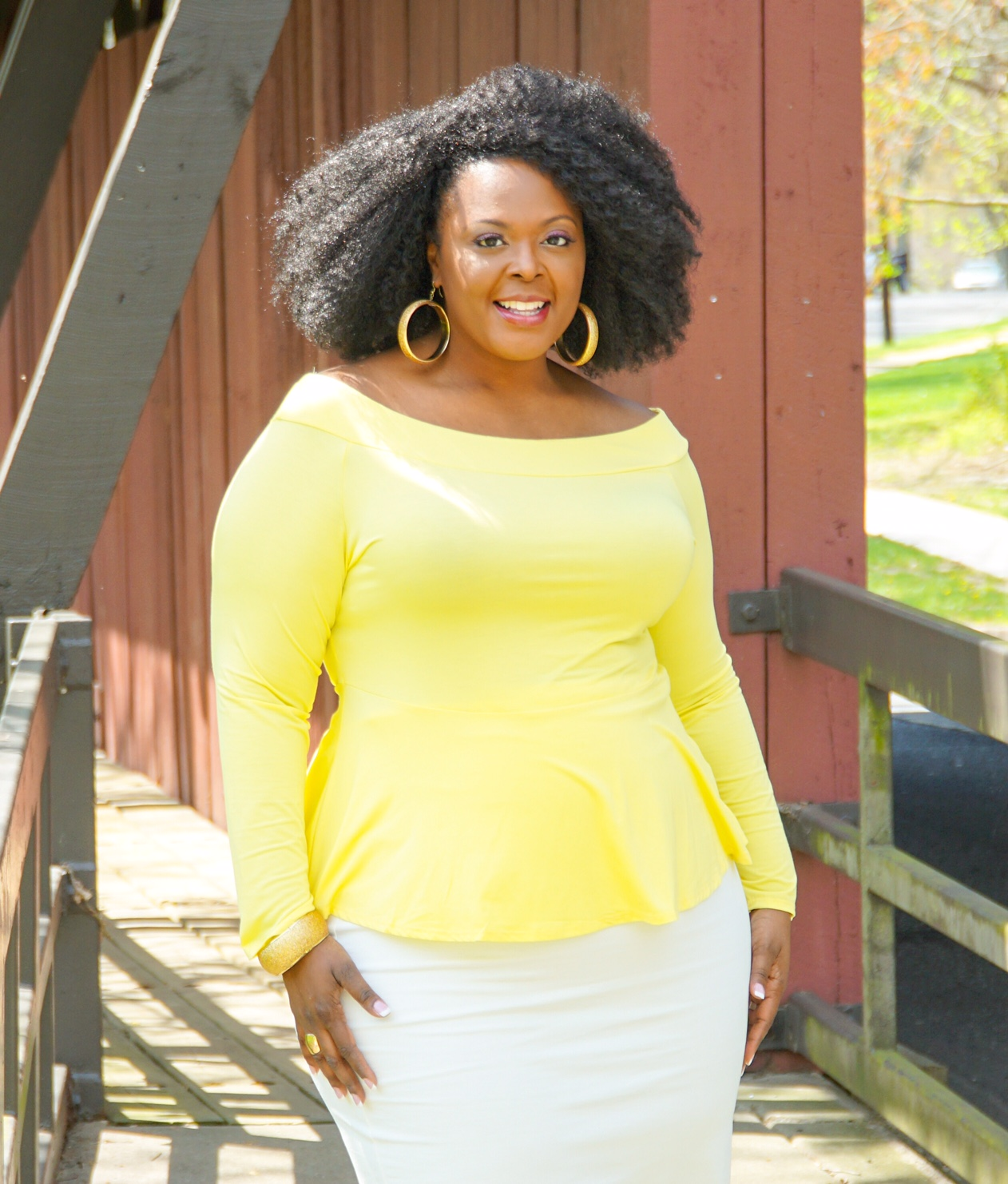 fashion to figure, ftf, plus size peplum top, yellow peplum top