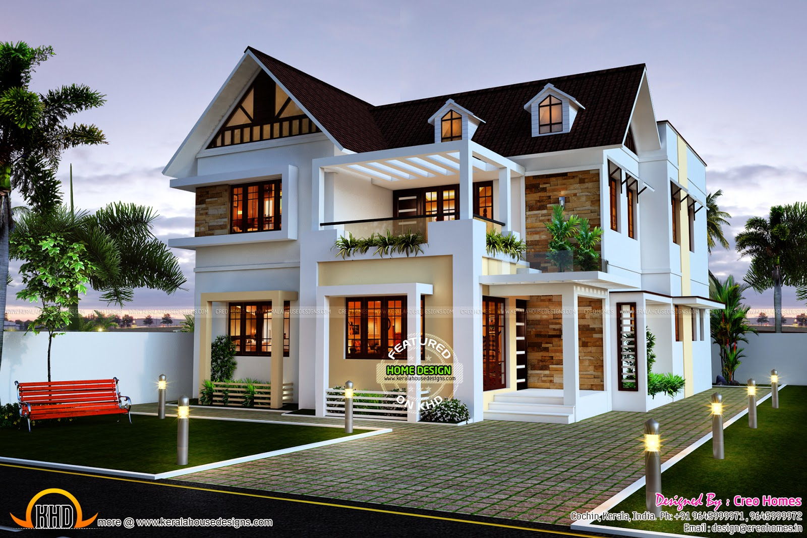 Very beautiful 4 bedroom home kerala home design and for Modern house designs and floor plans in india