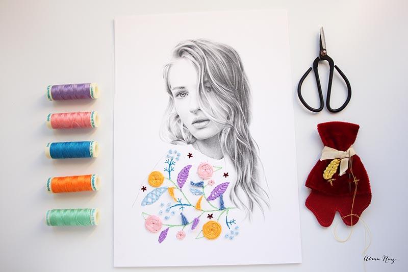 Dibujo a lápiz y bordado sobre papel