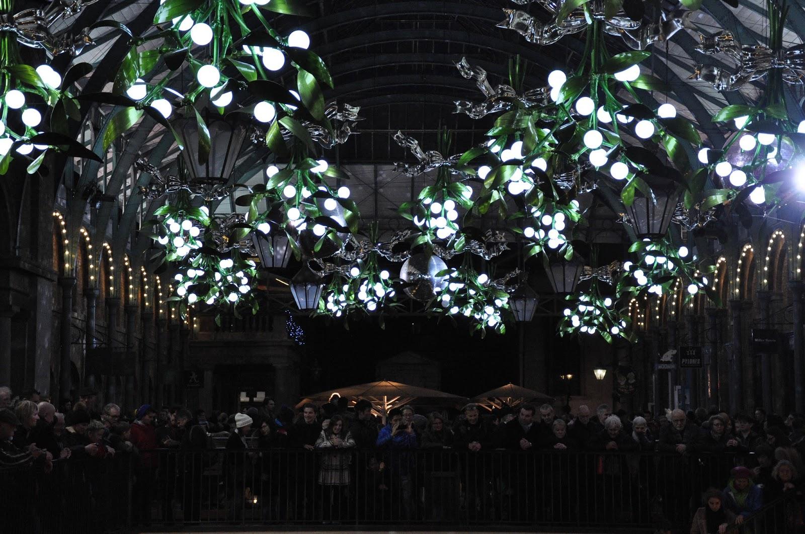 Mistletoe decorations, Covent Garden, London, England