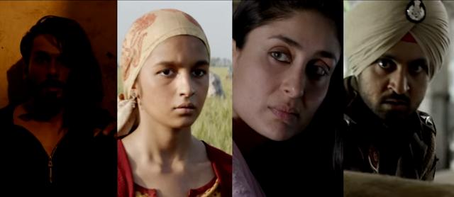 Shahid Kapoor, Alia Bhatt, Kareena Kapoor Khan and Diljit Dosanjh from the movie Udta Punjab.