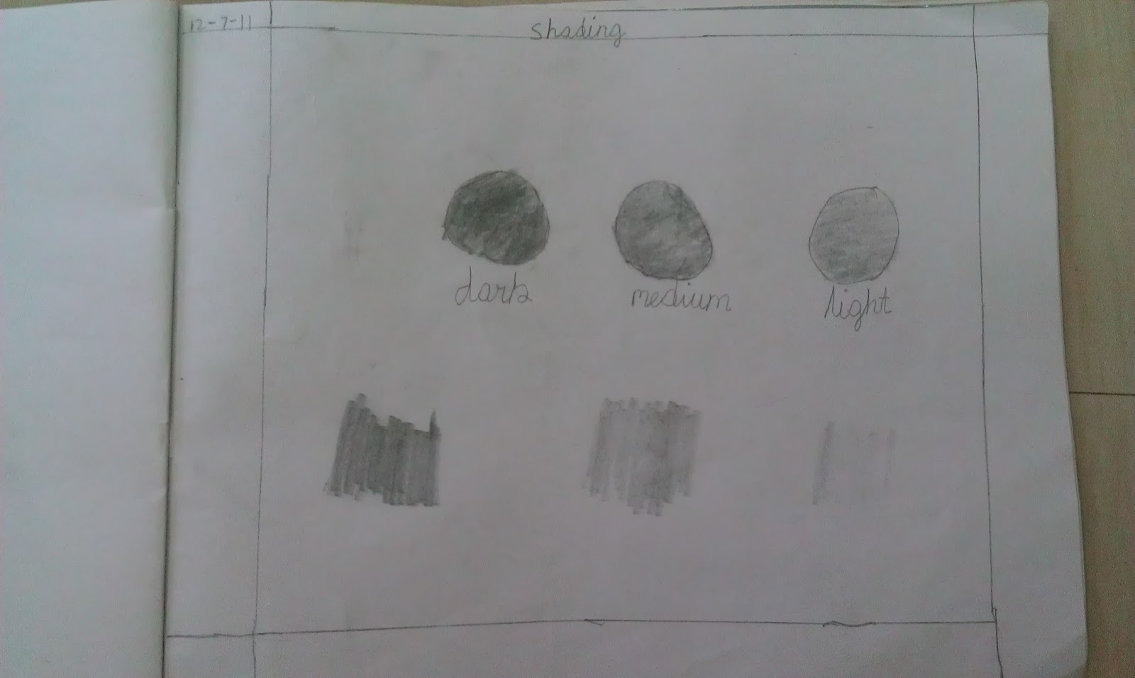 Reshmi S Art Class Pencil Shading Work By 3rd Graders