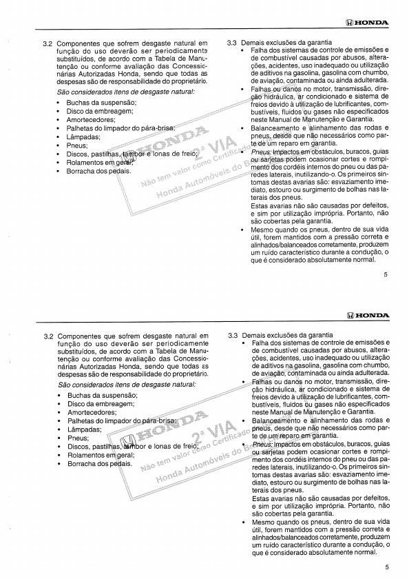 MANUAIS DO PROPRIETÁRIO: MANUAL DO HONDA CIVIC 2002