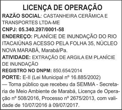 LICENÇA DE OPERAÇÃO -- CASTANHEIRA CERÂMICA E TRANSPORTES LTDA-ME