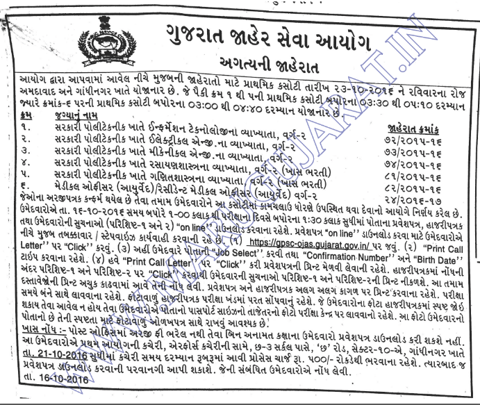 GPSC Govt. Polytechnic Various Lecturer Posts Call Letter