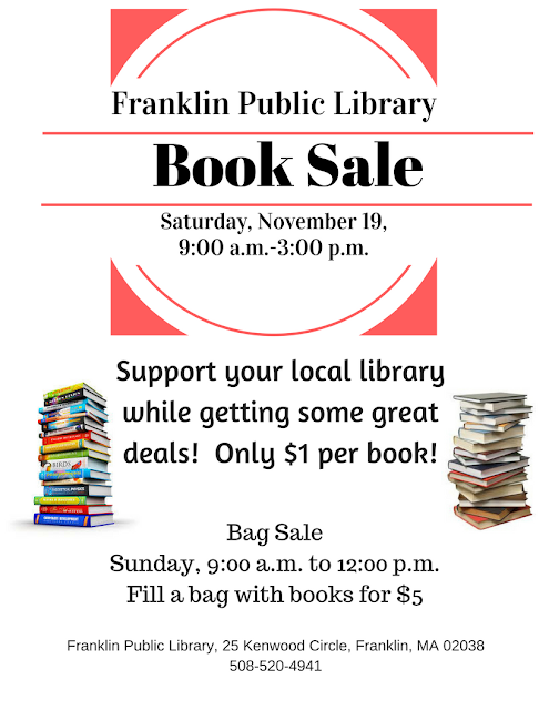 Franklin Public Library Book Sale is scheduled for Saturday, November 19, 9:00 a.m. to 3:00 p.m