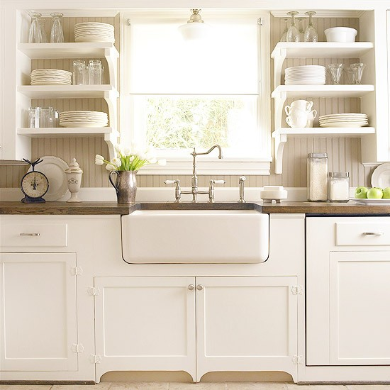 country style white timber kitchen designs with belfast sink