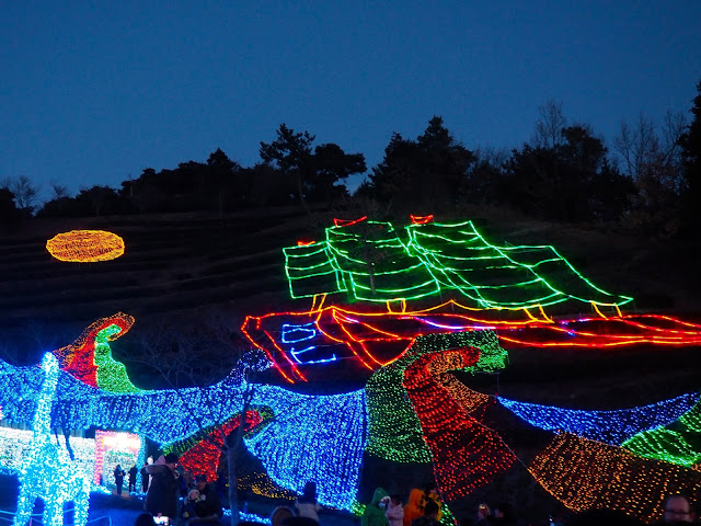 Lights shaped like a ship on the hillside at the Light Festival at Boseong Green Tea Plantation, South Korea